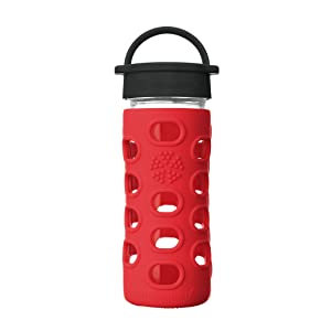 Lifefactory 12-Ounce BPA-Free Glass Water Bottle with Classic Cap and Protective Silicone Sleeve, Apple Red