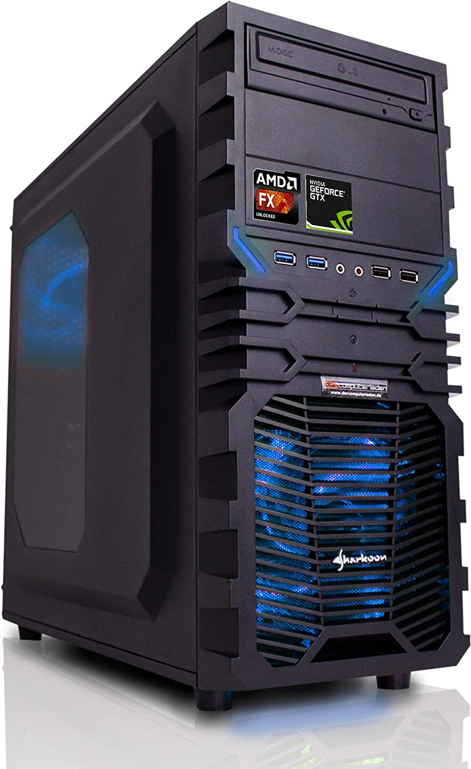 dercomputerladen PC Gaming Sistema AMD, FX-6300 6x3,5 GHz - FX 6300 con nVidia GTX 1080 8GB, mit 8GB RAM und 2000GB HDD: Amazon.es: Informática