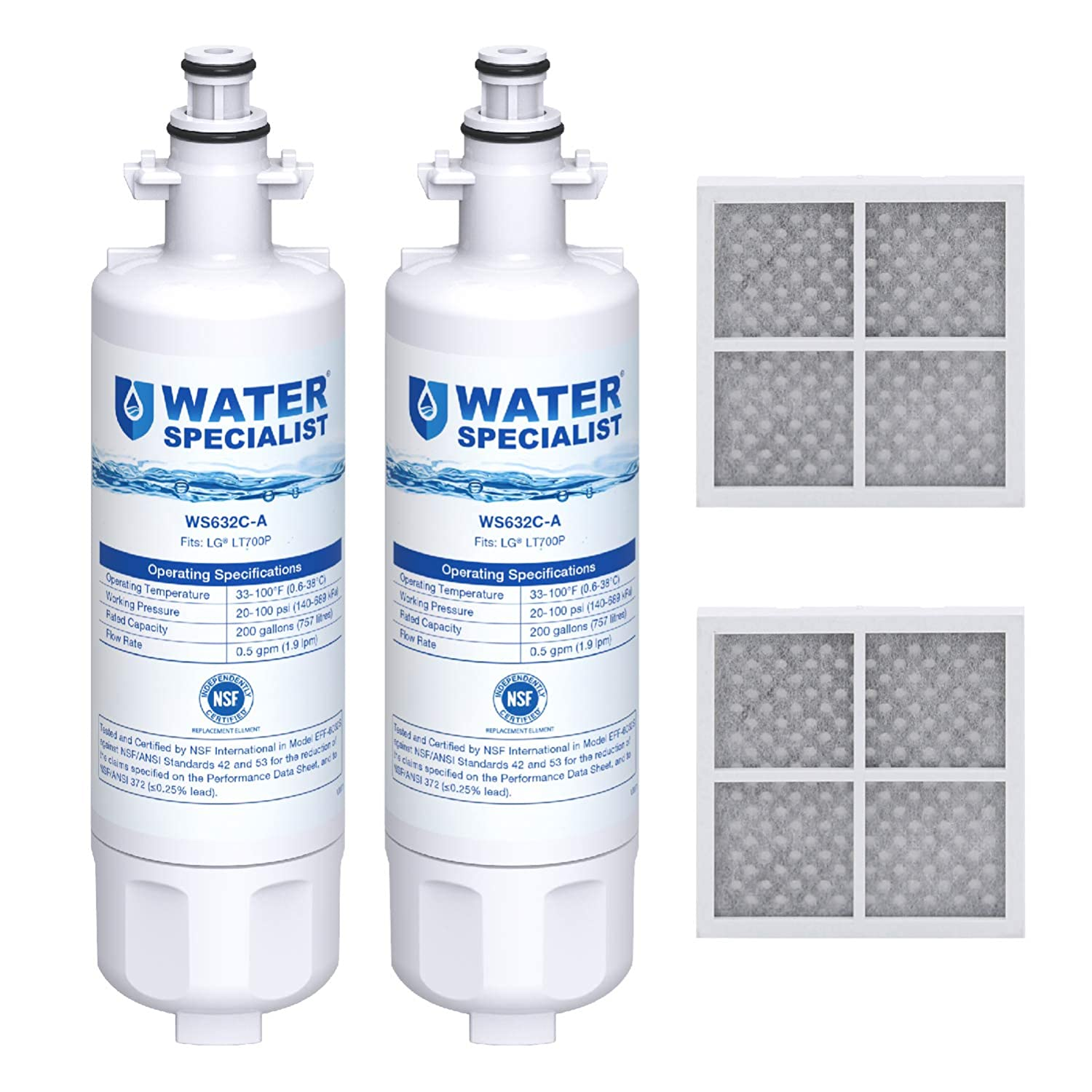 Waterspecialist NSF 53&42 Certified ADQ36006101 Refrigerator Water Filter and Air Filter, Compatible with LG LT700P, Kenmore 9690, 46-9690, ADQ36006102 and LT120F (Pack of 2)