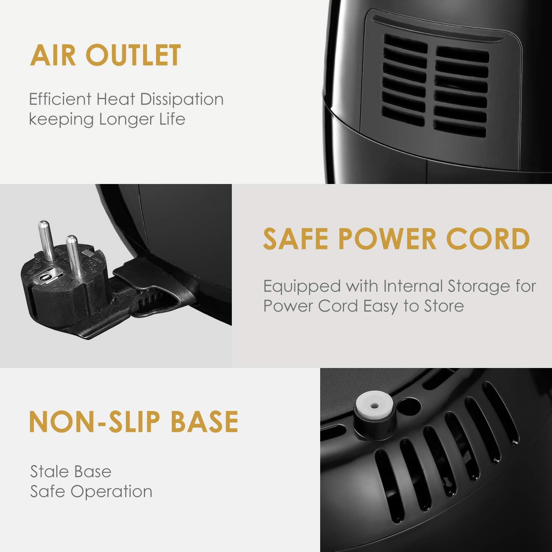 1500W Aicook Freidora de Aire Caliente XL con Control de Temperatura y Timpo Freidora sin Aceite LCD Digital Freidora El/éctrica Pantalla T/áctil Negro