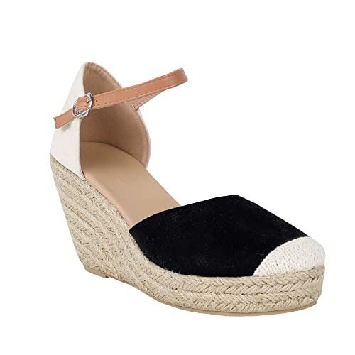 7d2830aea7dca Huiyuzhi Womens Wedge Sandals Ankle Strap Cap Toe Espadrille Wedge Sandal