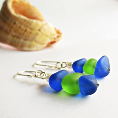 Multicolored Natural Sea Glass Earrings - Beach Jewelry - Sea Glass Jewelry for Women Beach Lover Gift - Bohemian Chic 925 Sterling Silver