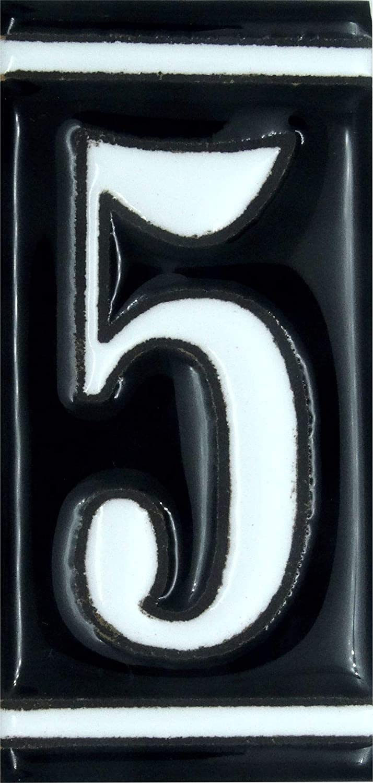 pintado a mano 5 x 11 cm color negro esmaltado los bordes.Grabado y C/éramica Espa/ñola s.l. N/úmero 3 N/úmeros para casas