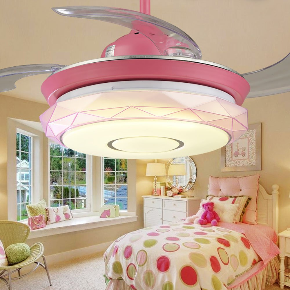 Huston Fan Invisible Ceiling Fan Light For Children Room Living Room Restaurant Fan Light Bedroom Ceiling Fan Simple Fan With LED (36inches, Pink)