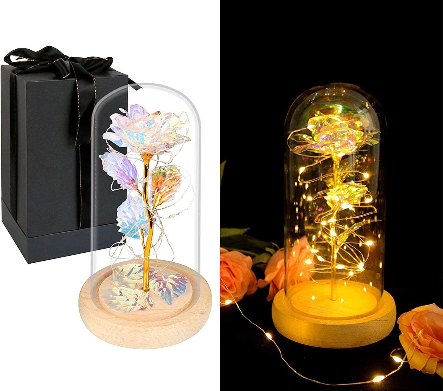 DEEMEI Galaxy Rose 24K Gold Foil Colorful Flower in Glass Dome with Led String Light Colorful Rose Unique Gifts for Her Women Birthday Mother's Day Valentine's Day Anniversary