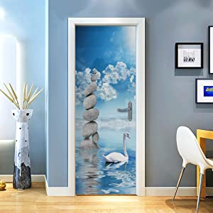 "QiyI Door Mural PVC Door Stickers Removable Wall Murals Peel and Stick Door Murals for Home Decoration Door Decal 30.3"" x 78.7"" -White Swan"