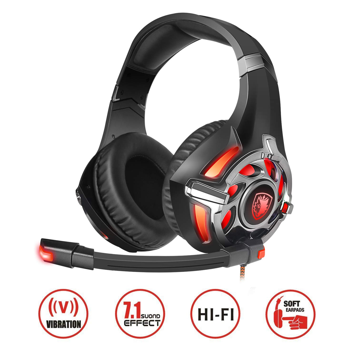 Auriculares Gamer : SADES R16 7.1 Surround  Over Ear(Red&Bla