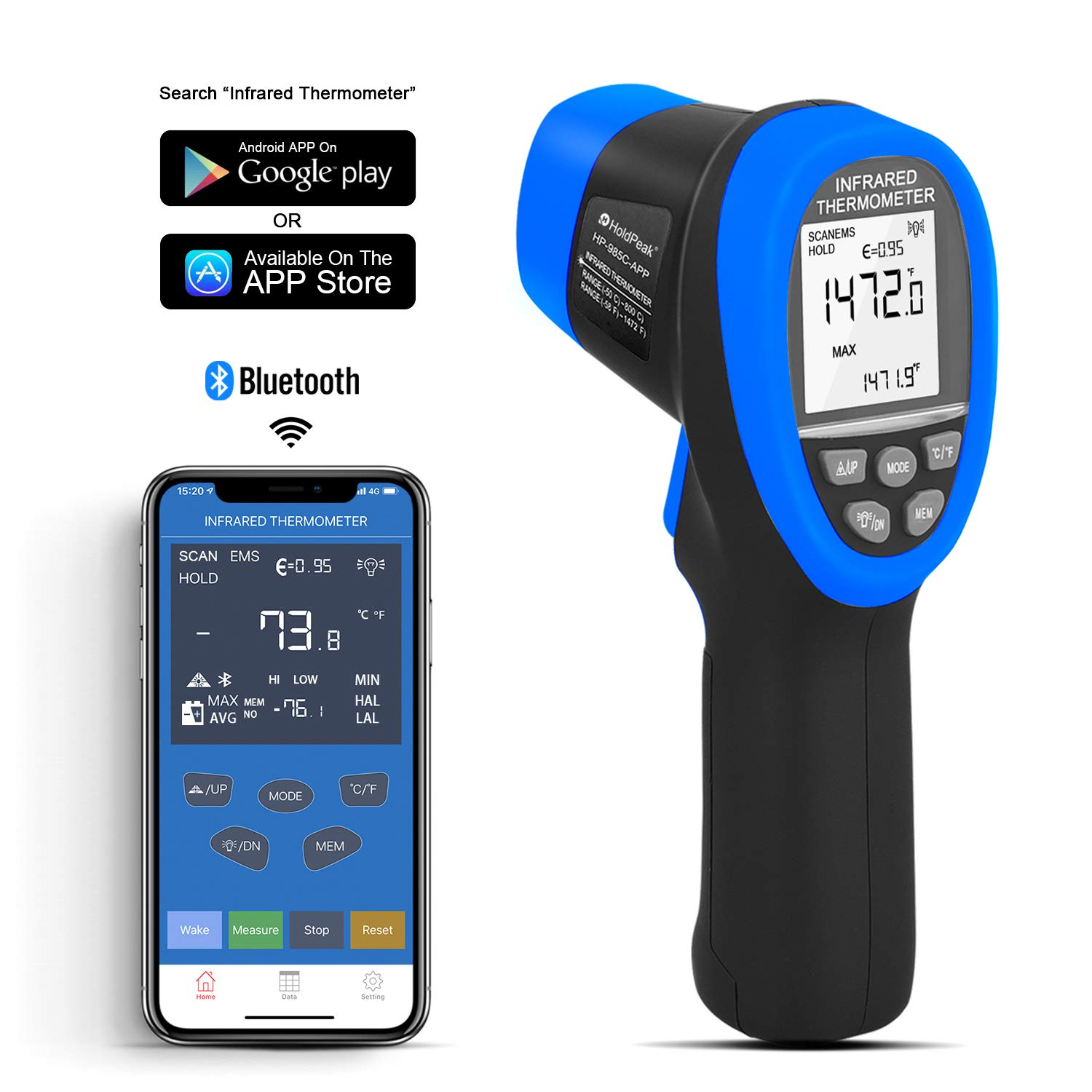 HOLDPEAK HP-985C-APP Infrared Thermometer Gun Connect to Your Phone via Bluetooth with APP,Non-Contact IR Temperature Gun -58 to1472℉(-50 to 800℃),DS 16:1 with Adjustable Emissivity for Forge Kiln by H HOLDPEAK (Image #2)