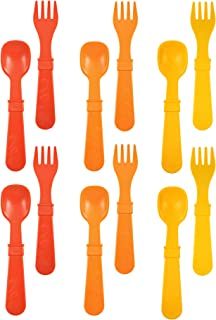 product image for RE-PLAY Made in The USA 12pk Fork and Spoon Utensil Set for Easy Baby, Toddler, and Child Feeding in Red, Orange and Sunny Yellow | Made from Eco Friendly Heavyweight Recycled Milk Jugs | (Fall)