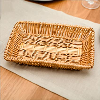 CHUWULANES Almacenamiento De Bricolaje Cestas De Mimbre Cesta De Rattan Rattan Manualidad Snack Bread Food Cesta