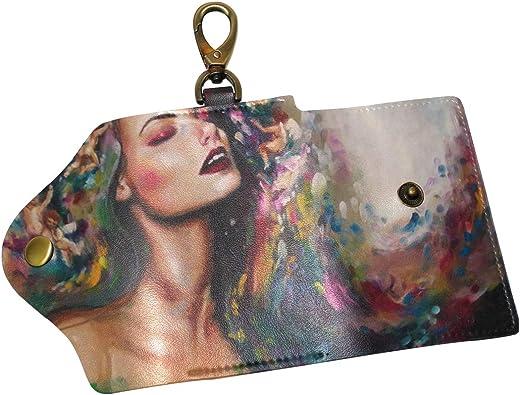KEAKIA Galaxy Leather Key Case Wallets Tri-fold Key Holder Keychains with 6 Hooks 2 Slot Snap Closure for Men Women