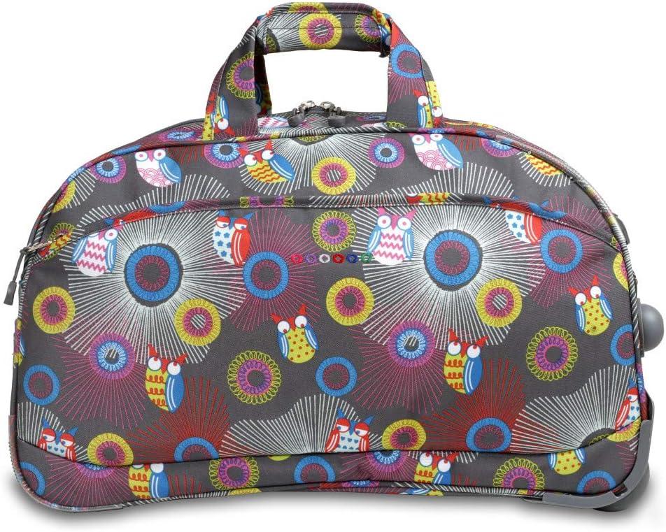 Color Girls Owl Polka Dot Theme Rolling Duffel Bag Carry Grey Purple Yellow