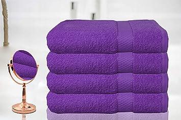 Casabella - Juego de 4 toallas de baño grandes de algodón egipcio peinado, tamaño grande., 100% algodón, Morado, 4 Bath Sheet: Amazon.es: Hogar