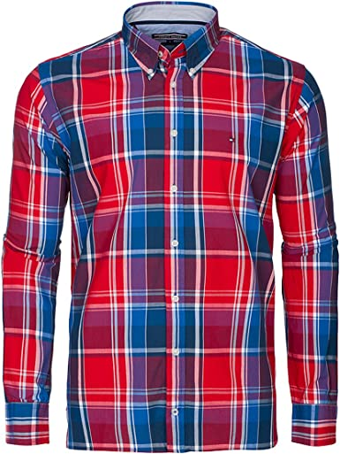 Tommy Hilfiger Custom Fit Camisa para Hombre Manga Larga Color Red Montana Red L: Amazon.es: Ropa y accesorios