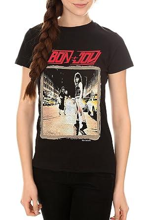 84cc5328 Amazon.com: BandMerch Bon Jovi Runaway Junior's T-Shirt - Black ...