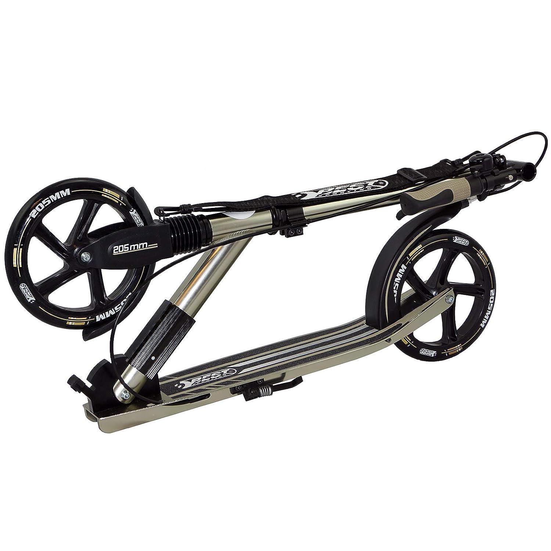 Tret-Roller in schwarz//Gold Handbremse und Klingel City-Roller mit ergonomischem Lenker Sporting Scooter 205er Rolle High Class