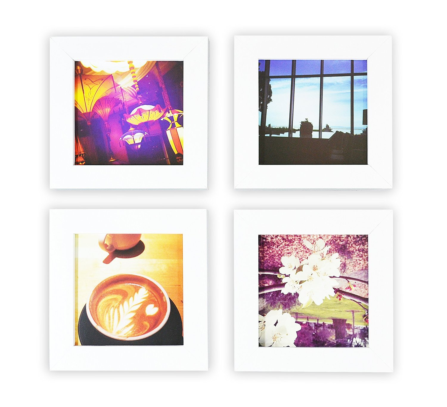 Golden State Art, Smartphone Instagram Frame Collection, Set of 4, 4x4-inch Square Photo Wood Frames, White by Golden State Art
