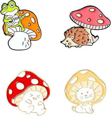 Mod Mushroom Enamel and Copper Brooch Shrooms Mushroom Foraging Mushroom Enamel Mushroom Broochs Enamel Pins Set of 2 Mushroom Pins