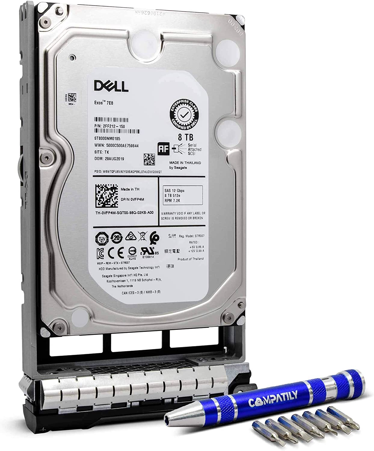 "Dell 400-AMPG 8TB 7.2K SAS 3.5"" HDD PowerEdge Enterprise Hard Drive in 13G Tray Bundle with Compatily Screwdriver Compatible with GKWHP 400-AMPD R430 R730 T330 R330 R530 Hardware Parts and Servers"