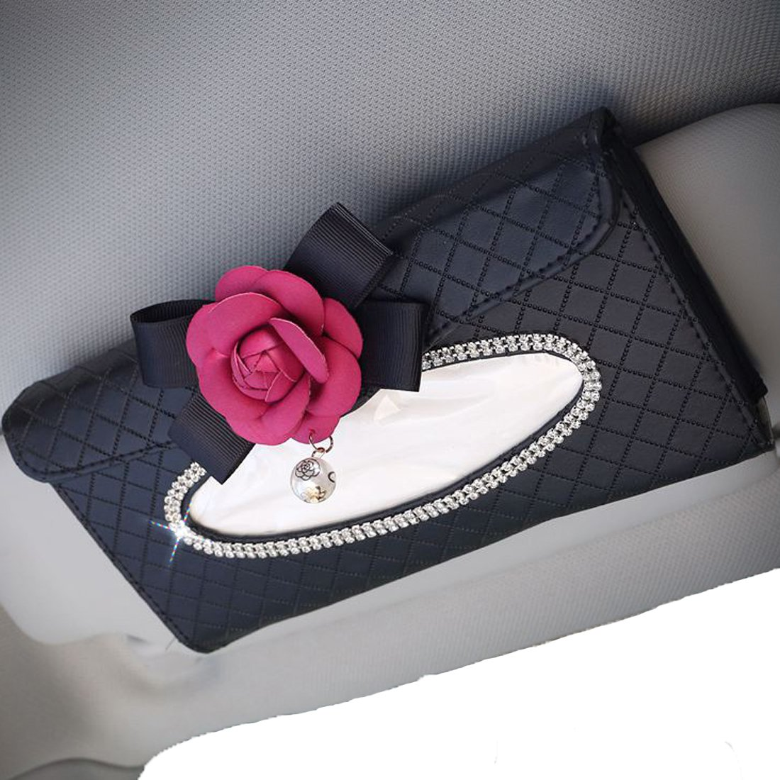 Calcifer Auto Car Sun Visor Tissue Box Handy Paper Napkin Holder Clip Rose and Pearls Decorate Red