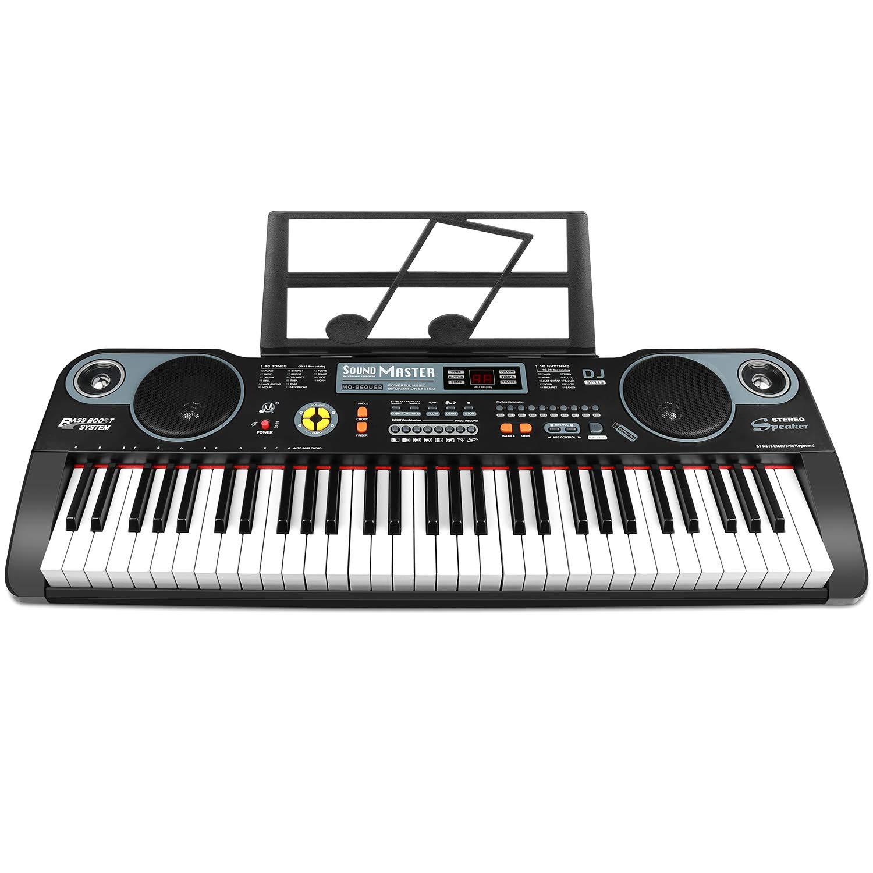 ZJTL 61-Key Digital Electric Piano Keyboard &Music Stand &microphone- Portable Electronic Keyboard (Kids & Adults) MQ-860USB
