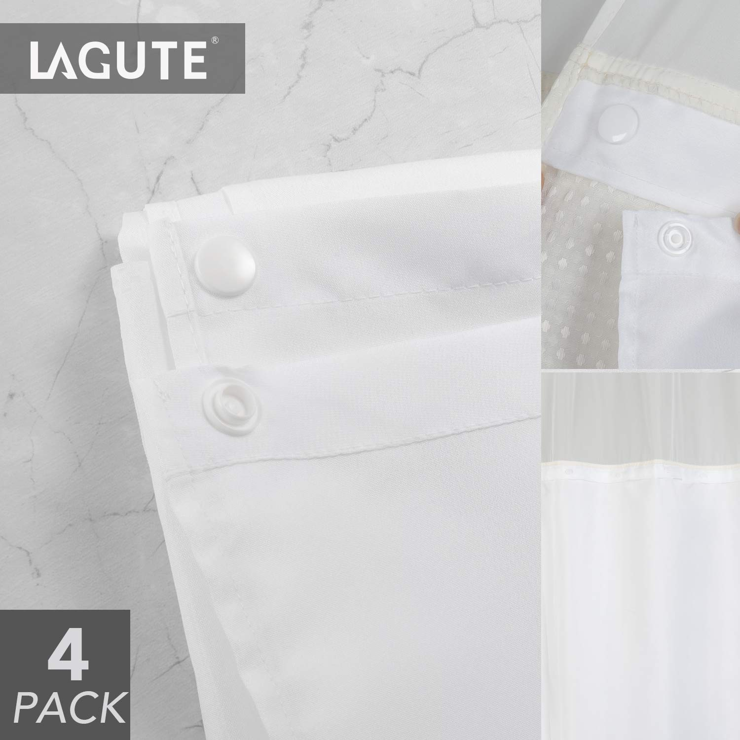 Lagute SnapHook Hookless Shower Curtain Replacement Snap-in Liner, Wipe Clean Machine Washable, Quick-Drying, No Chemical Odors, Polyester (4 Pack)