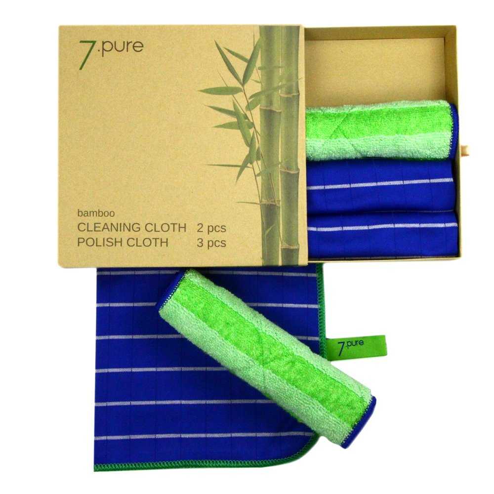 Conjunto de bambú 7.PURE | 2 x bayetas y 3 x trapos para sacar