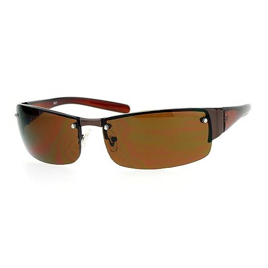 c8ece4fee0 SA106 Classic Luxury Elegant Rimless Rectangular Mens Fashion Sunglasses  Copper Brown