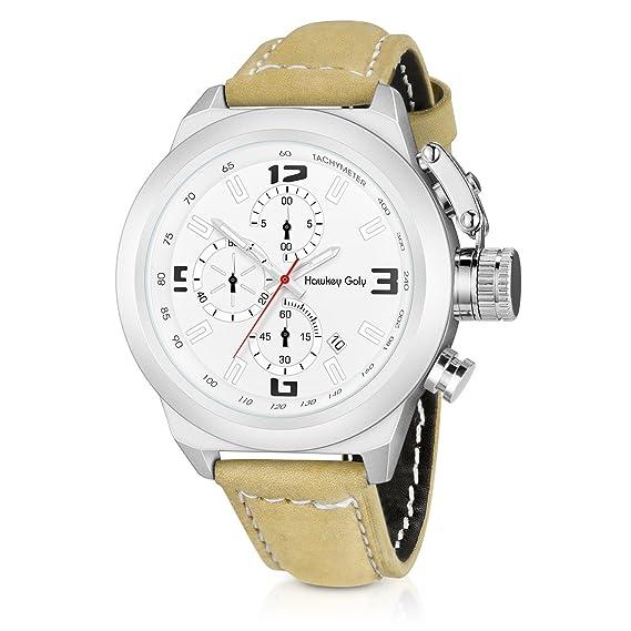 Analógico deportivo para hombre reloj para Running con ventana de fecha  cronógrafo cuarzo muñeca relojes correa de piel color marrón  Amazon.es   Relojes e26f2cf19056