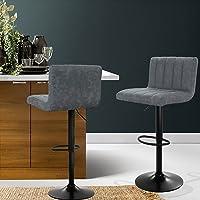 Artiss Set of 2 Bar Stools Leather Kitchen Stools Swivel Gas Lift Bar Chairs, Grey