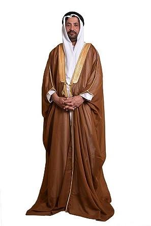 Amazon.com  Brown Bisht Cloak Arab Dress Thobe Saudi Mens Robe Eid (Brown)   Clothing b6b42db67