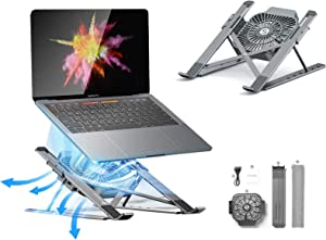 Portable Laptop Stand, Adjustable Aluminum Alloy Notebook Holder for 11-17inch Laptop Tablet ,Stand with Fan Cooling for HP DELL Notebook MacBook Air Pro Stand Holder Cooler