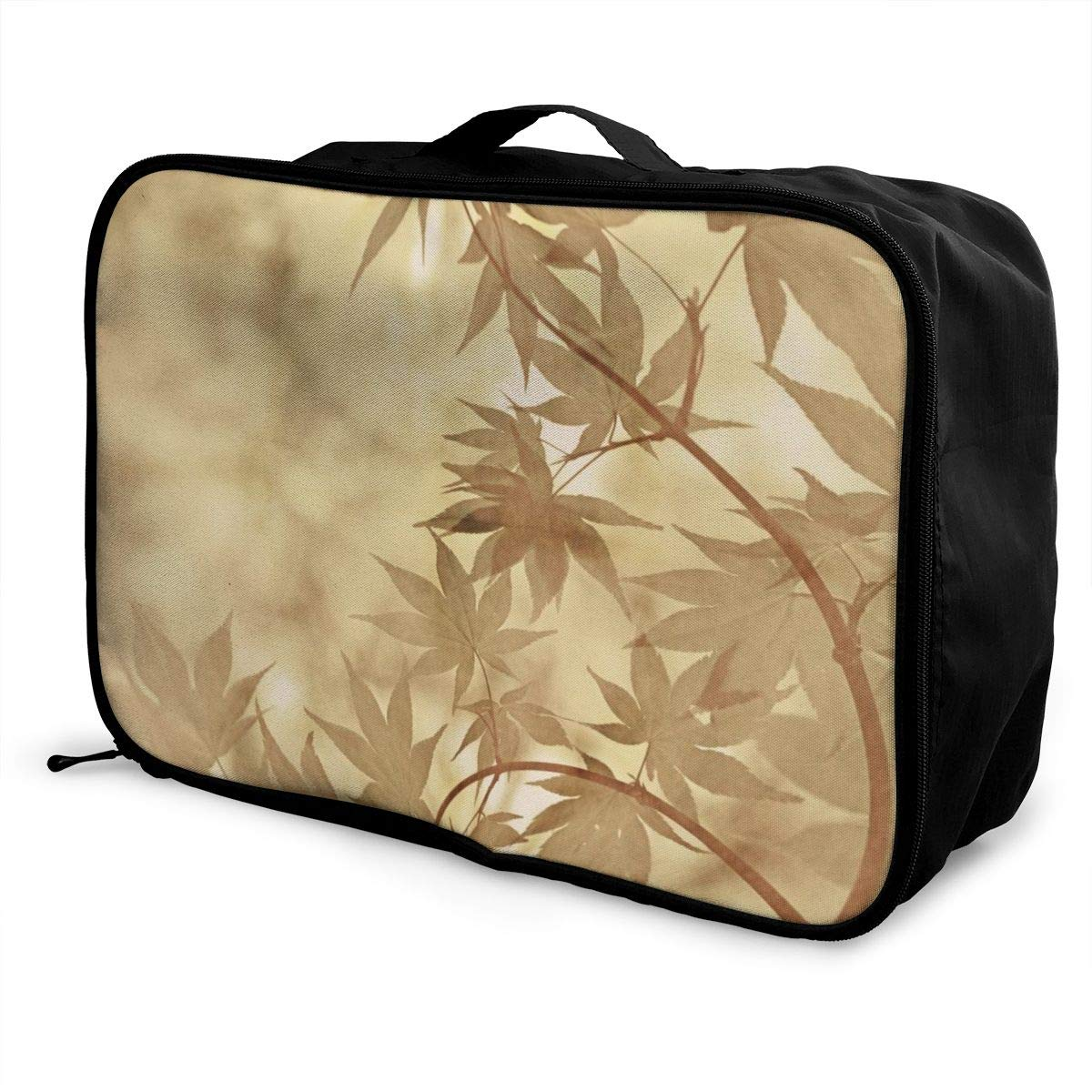 Bamboo Maple Leaf Travel Lightweight Waterproof Foldable Storage Carry Luggage Large Capacity Portable Luggage Bag Duffel Bag
