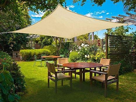 Sunnylaxx Vela de Sombra Rectangular 2 x 3 Metros, toldo Resistente e Impermeable, para Exteriores, jardín, Color Arena
