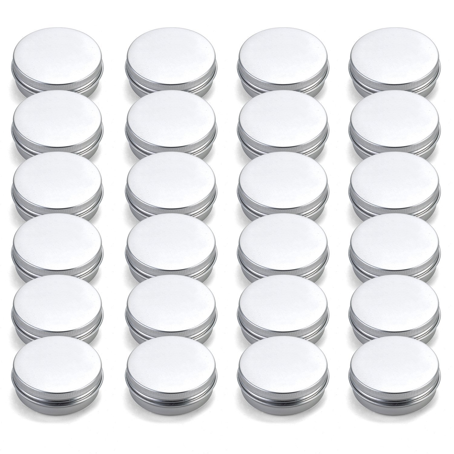Tosnail 24 Pack 2 oz. Aluminum Round Lip Balm Tin Containers with Screw Thread Lid - Great for Spices, Candies, Tea or Gift Giving by Tosnail