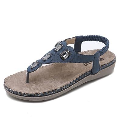CARETOO Damen Sommer Bohemian Flachen Sandalen Tanga T-Strap Blume Slip auf Flip Flops Schuhe B3gmZE