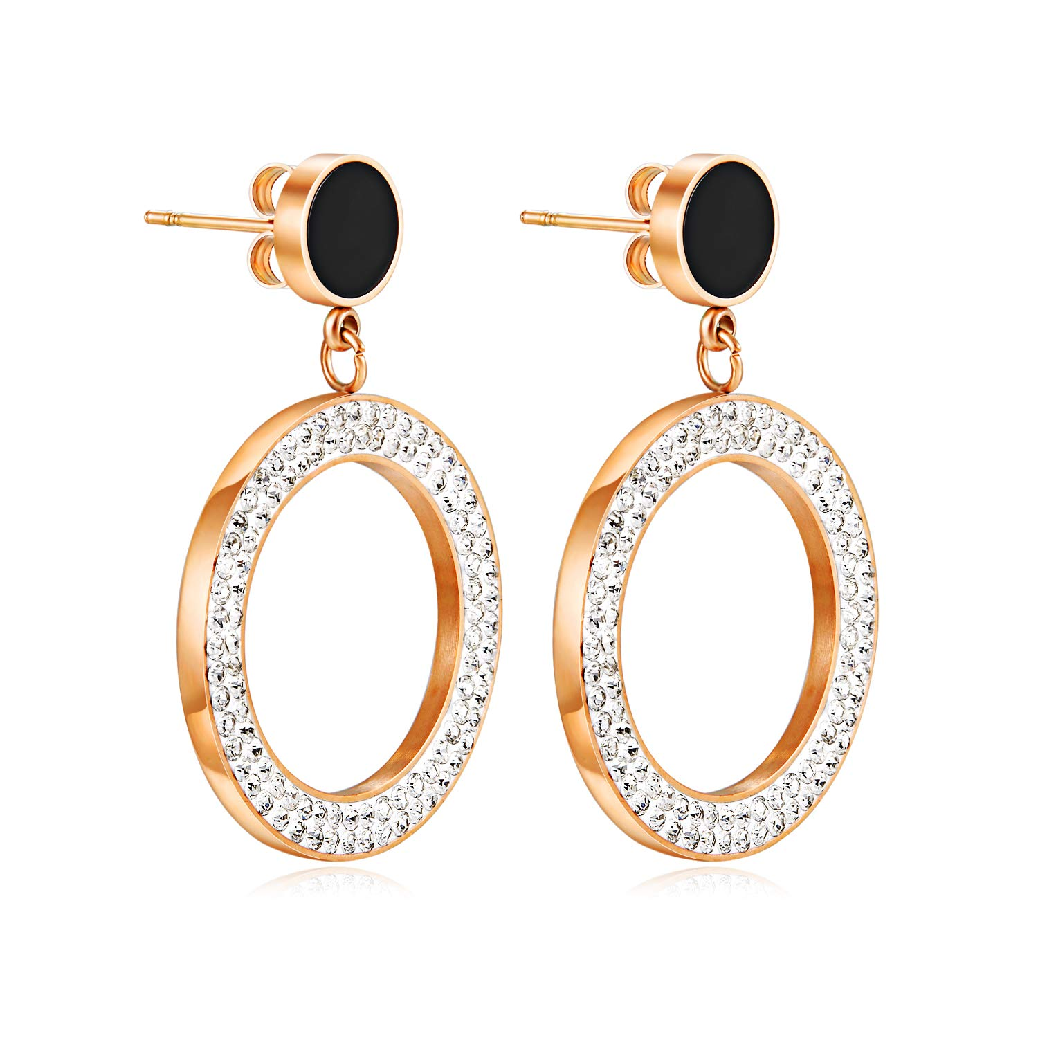 Vanski Rose Gold Stainless Steel Geometric Drop Earrings Cubic Zirconia Acrylic Earrings for Women Girls