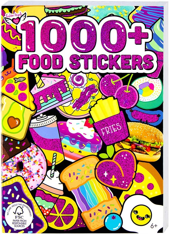 Fashion Angels 1000+ Food Stickers for Kids - Colorful & Cute Food Stickers for Laptops, Luggages, Journals, Notebooks & Greeting Cards, 40-Page Sticker Book for Kids Ages 6 and Up