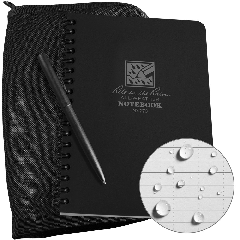 Rite in the Rain Weatherproof Side Spiral Kit: Black Cordura Fabric Cover, 4 5/8 x 7 Black Notebook, and Weatherproof Pen (No. 773B-KIT)
