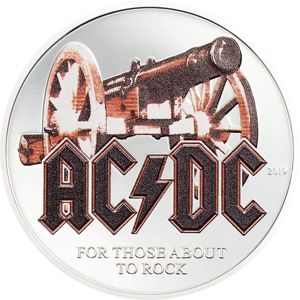 For Those About to Rock 1//2 Oz Proof Silver Coin Cook Islands 2019 2$ AC//DC