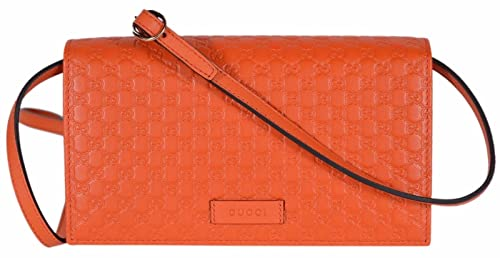 75c569f294531 Image Unavailable. Image not available for. Colour  Gucci Women s Leather  Micro GG Guccissima Crossbody Wallet Bag (466507 Orange)