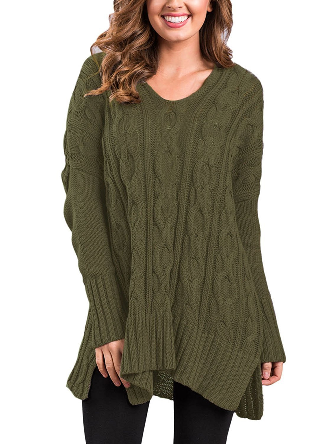 Haogo Womens Casual V Neck Long Sleeve Cable Knit Loose Pullover Sweater Green Medium by Haogo