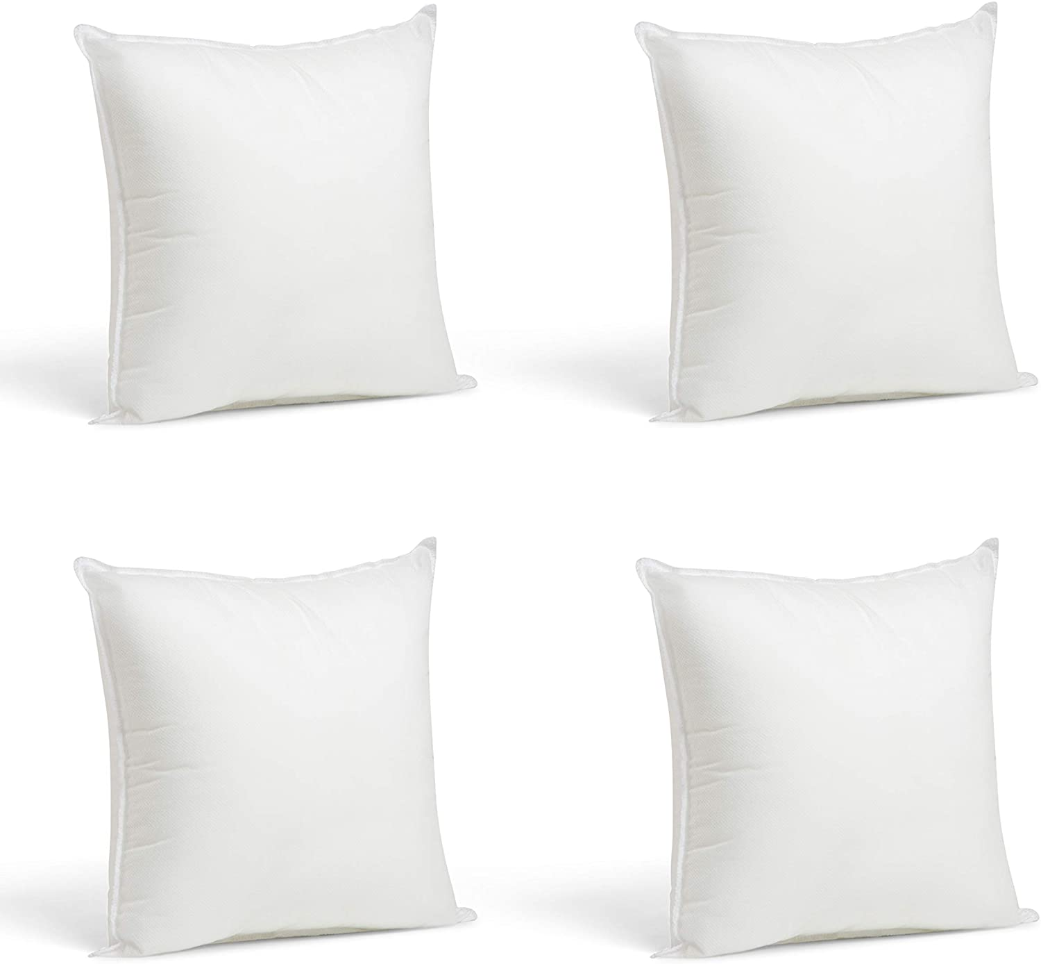 foamily throw pillows set of 4 12 x 12 premium hypoallergenic pillow inserts for couch or bed decorative bedding made in usa