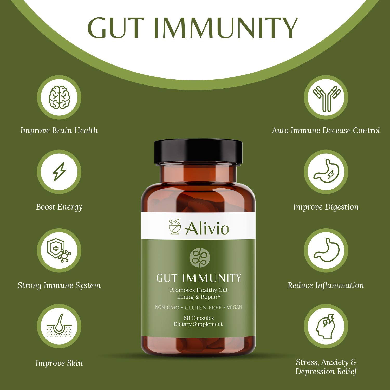 ALIVIO Gut Immunity Supplements - 60 Capsules - Metabolism Booster - Leaky Gut Repair - Restore Gut Health - Gut Health Supplement - Microbiome Supplements - Gut Restore - Leaky Gut Revive