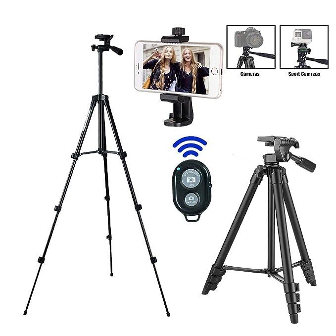 Kamera Stativ, iPhone Stativ,Smartphone Stativ,mit Handy Halterung und Bluetooth Fernbedienung Handy Stativ für iPhone Samsun