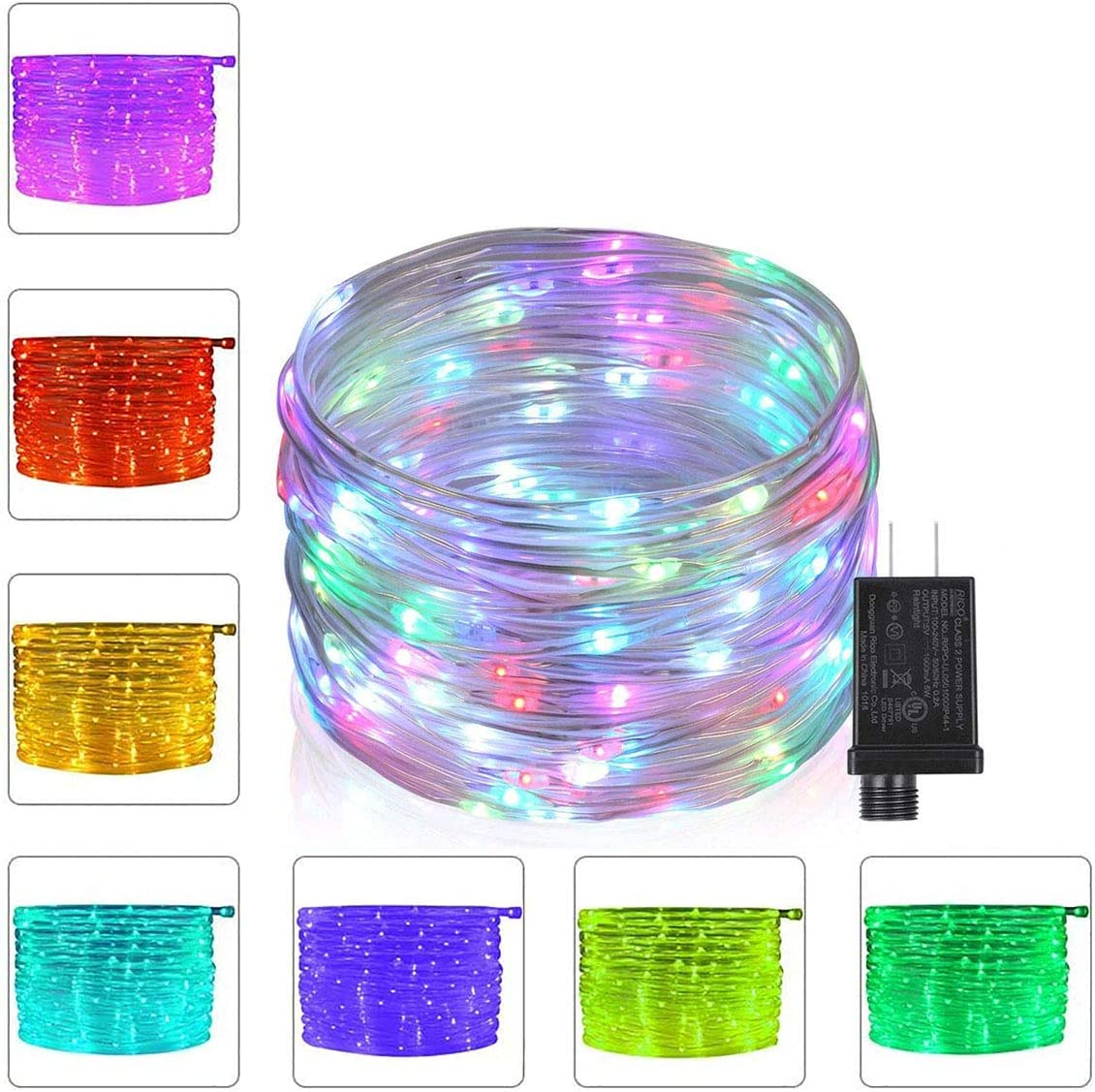 Foxdam 66Ft Led Rope Lights Outdoor Fairy String Lights Plug in with 200 LEDs,16 Colors Changing Waterproof Starry Fairy Lights for Garden,Bedroom,Patio,Home Decor