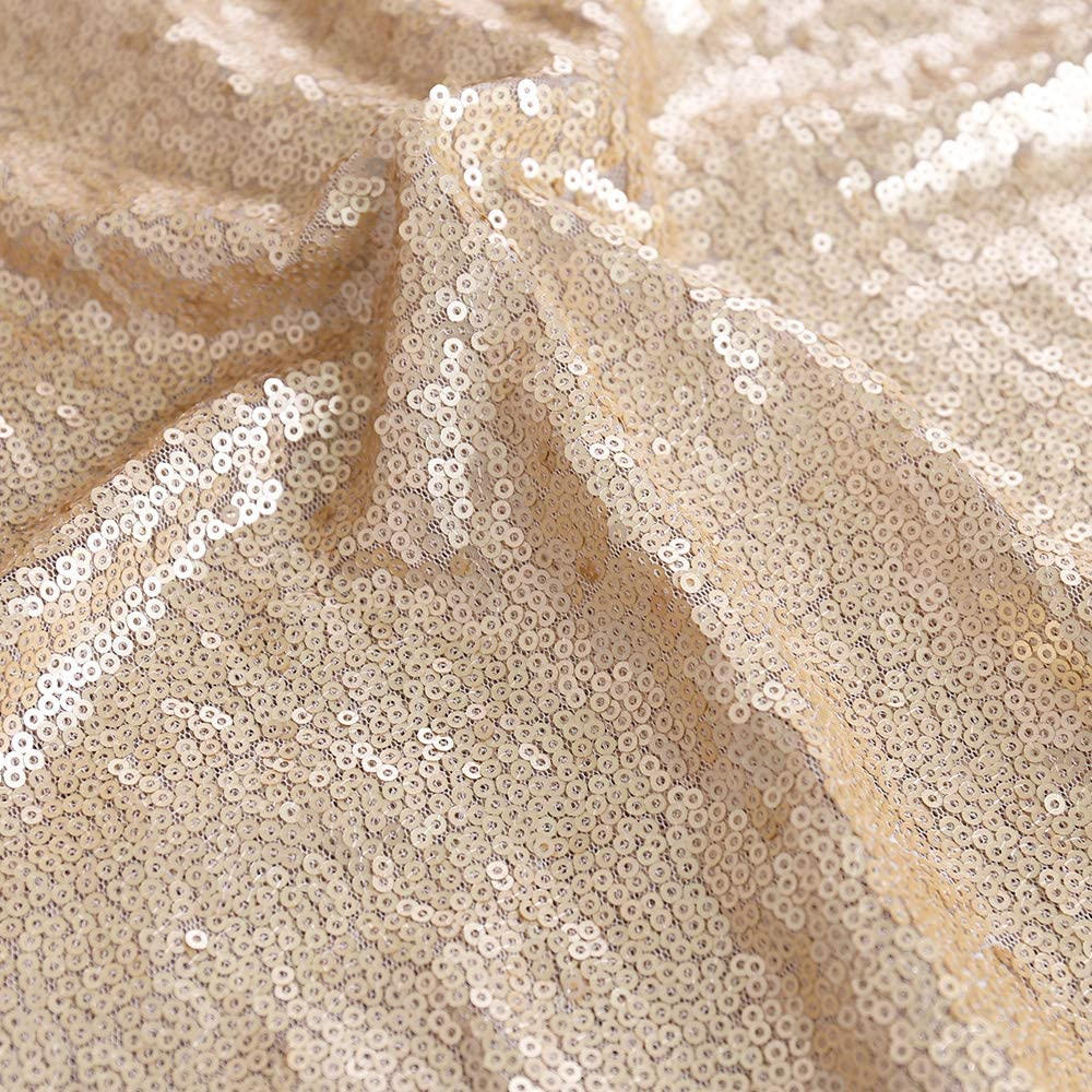 TRLYC 4 Pieces 12x72 Champagne Sequin Table Runners Wedding Party Table Decoration Accessories Home Textiles