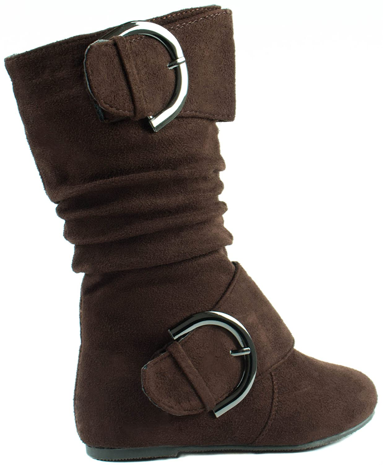Lucky Top Little Girls Data-80K Suede Boots with Two Buckle Straps