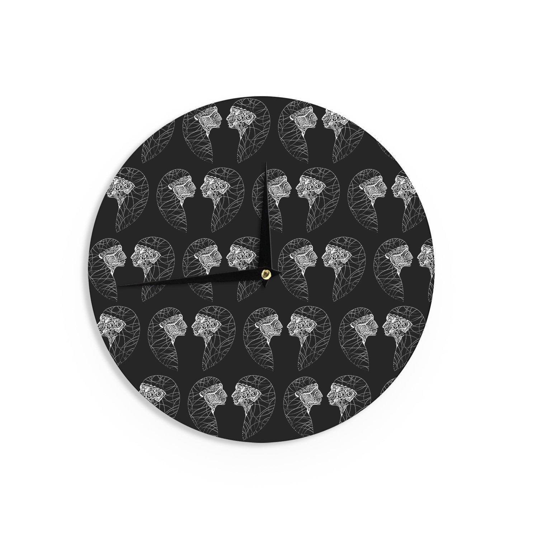 Kess InHouse Maria Bazarova Twins White Abstract Wall Clock 12