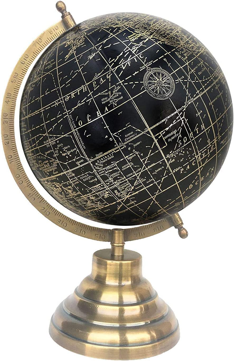 World Globe Home Decor Gift Item by Globes Hub Office Decor Antique Globe with Brass Antique Arc and Base 8 Black Gold Educational